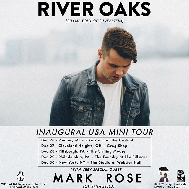 I'm so excited to announce the first ever River Oaks tour!  On sale this Friday!  Sorry it's so short!  VIP and GA available on riveroaksmusic.com FRIDAY.  Stoked to have my buddy @mrmarkdrose along with me!  #riveroaks #shanetold #silverstein #markrose