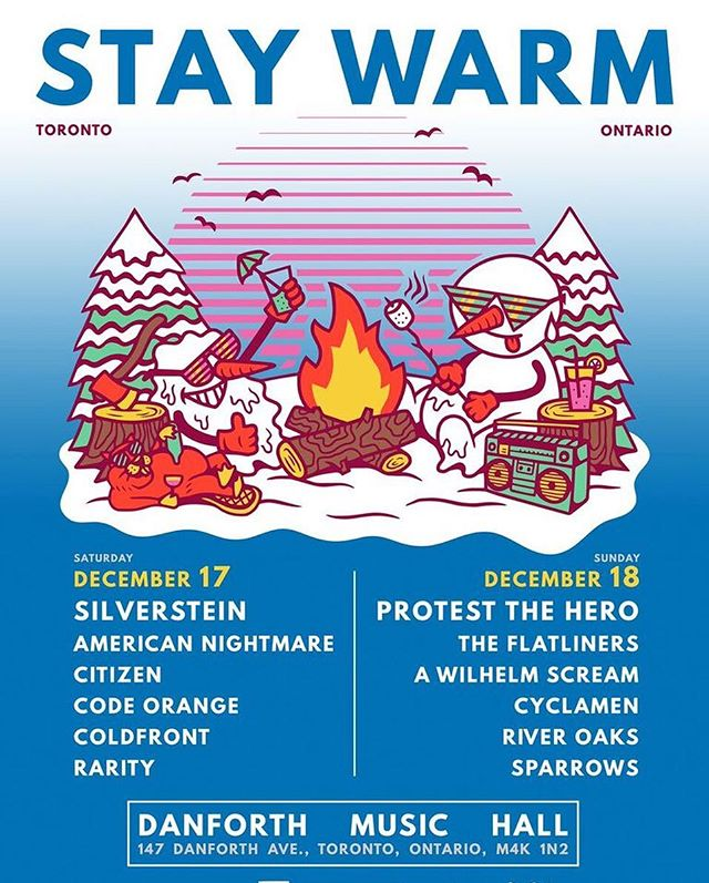 TORONTO: I'll be playing with BOTH my projects for this awesome festival we put together.  So yeah I think you should come to both days!  Tickets/VIP: staywarm.soundrink.com #staywarm #staywarmfest #riveroaksmusic #silverstein #protestthehero #americannightmare #codeorange
