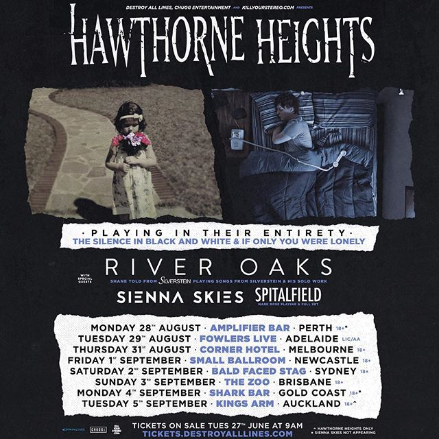 Australia!  I'm bringing River Oaks for the first time ever opening for @hawthornehgts !  Tickets on sale on Tuesday!  #hawthorneheights #riveroaksmusic #shanetold