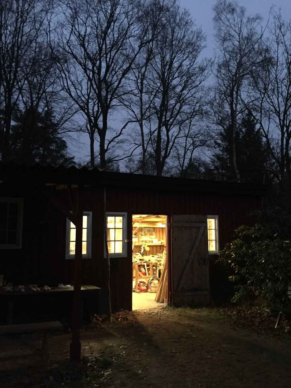 barn/wood workshop at night