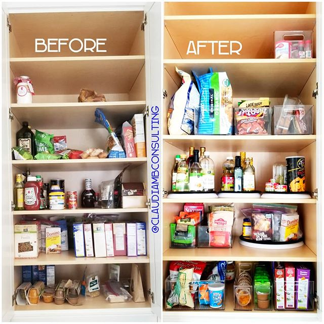 Its the little things 😍 #TransformationTuesday  #SeeEverythingEatEverything Don't let small everyday annoyances get in the way of living an #organized life. Get started one #cabinet at a time! Its amazing what a few #turntables and #clearstoragebins can do! All from @thecontainerstore . . . #ClaudiaMBConsulting #EntertainmentandLifestyleConsultant #ContainedHomeOrganizer #smallspaces #kitchenstorage #cabinetstorage #snackstorage