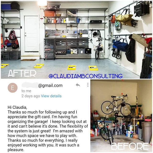 This client was determined not to let the #holidayseason deter her from getting her #garage in order! 😍#anotherhappyclient #TransformationTuesday #treatyoself #garagegoals #ELFAUtility #MakeMoreSpace . . . #ClaudiaMBConsulting #EntertainmentandLifestyleConsultant #SpaceDesigner #ContainedHomeOrganizer #Garage #getorganized #ContainYourself #customertestimonial #currentdesignsituation #declutter #smallspaces