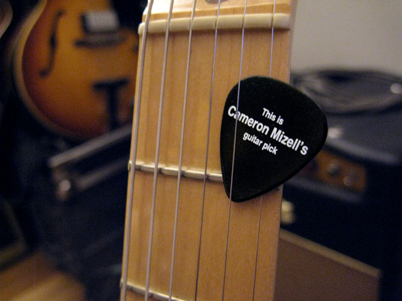 This is Cameron Mizell's guitar pick.