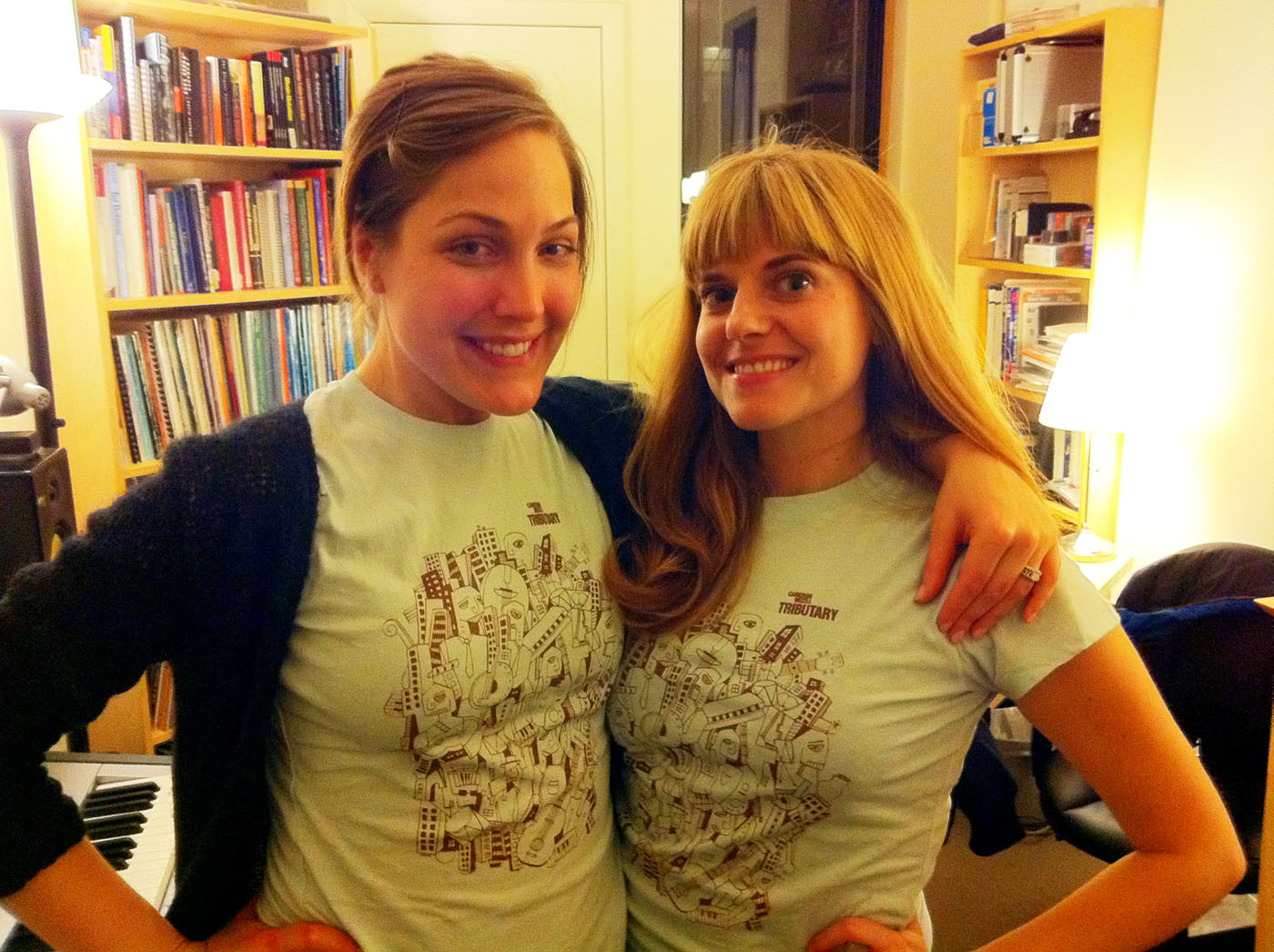 Jill Mizell and Erika Lloyd wearing Tributary t-shirts