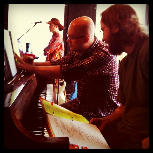 Son of a Gun music director David J. Hahn with composer Don Chaffer - NYC guitarist Cameron Mizell