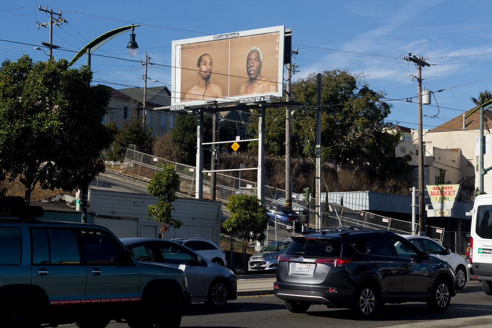 Imprint City #Remaincreative billboard  Third Street and Thornton Avenue, San Francisco.