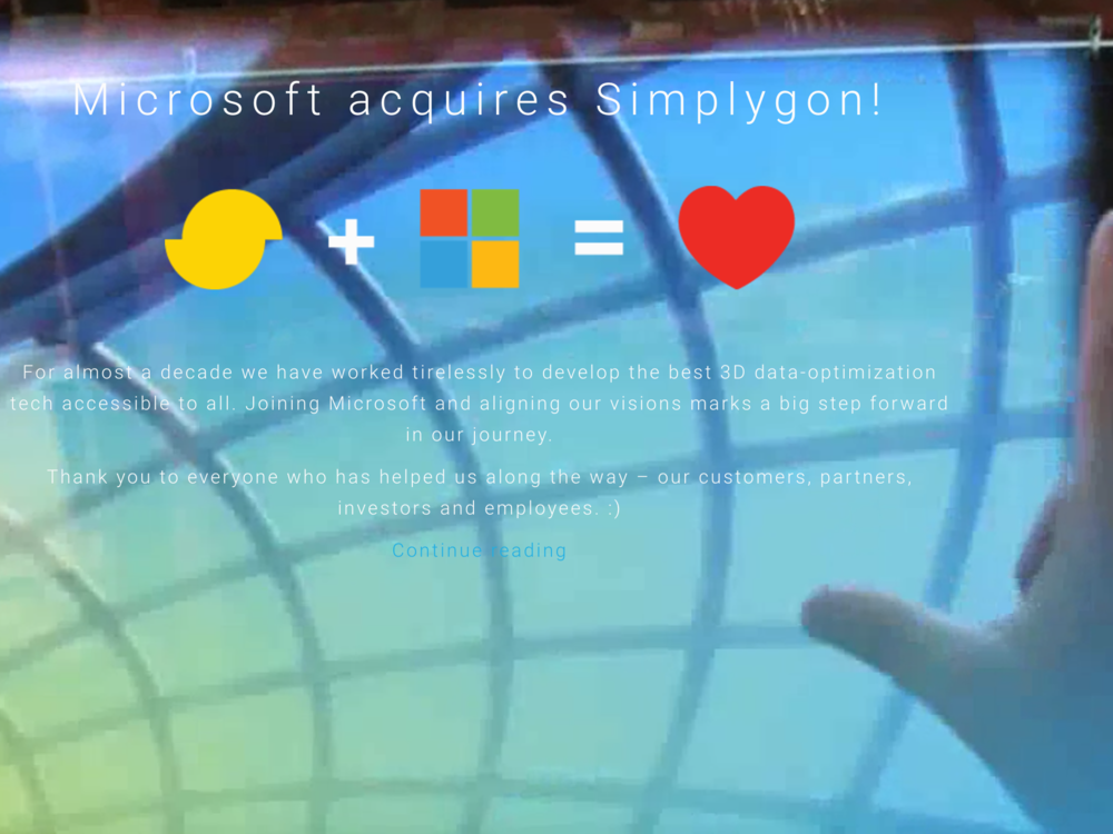 Microsoft Acquires Simplygon, January 2017