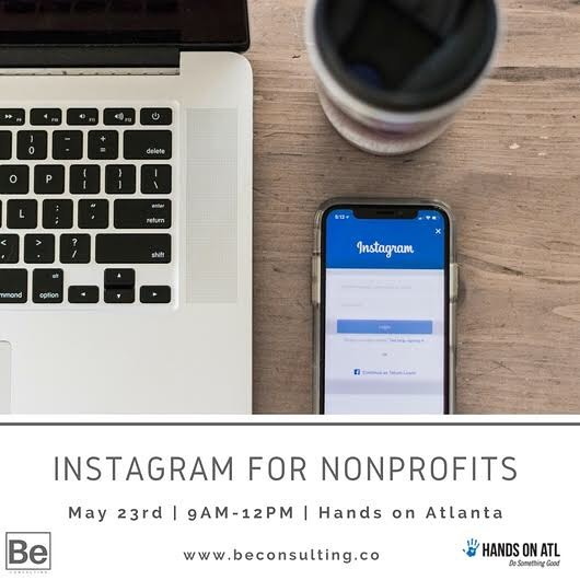 We're teaming up with @handsonatl for an Instagram 101 Workshop for Nonprofits happening on May 23rd! 🤚 Register now - spots are filling up quickly, so click the link in our bio now. See you there!  #BeConsulting #AtlantaNonprofit