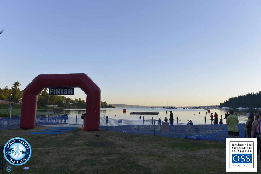 Beautiful morning looking out over the swim course from transition.