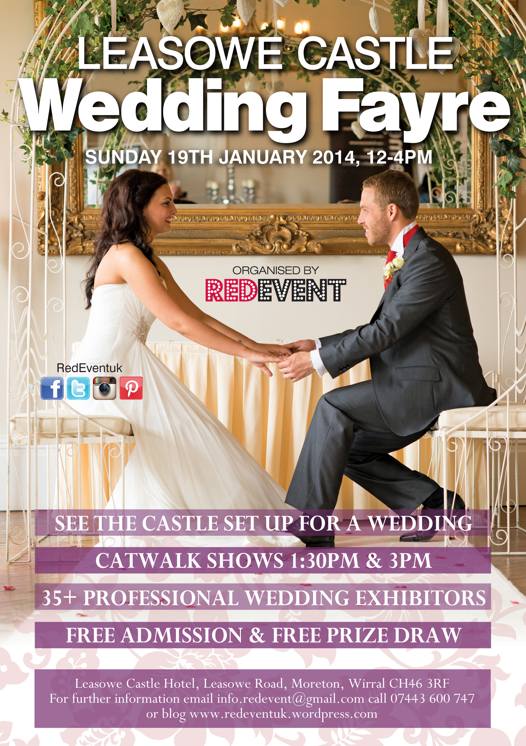 Flyer for Leasowe Castle's next Wedding Fayre