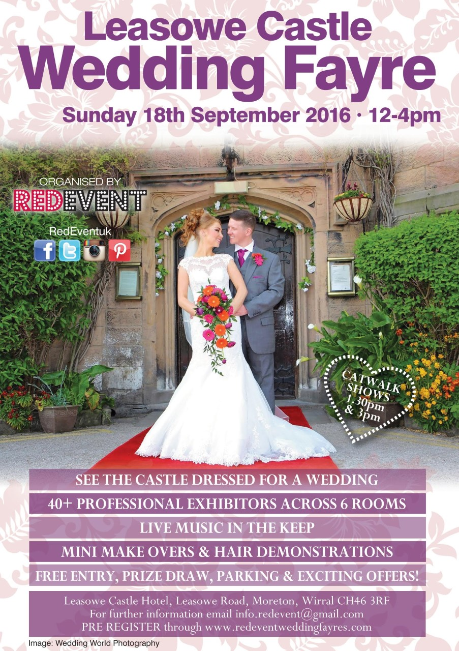 Leasowe Castle Flyer North West Wedding Fayre Red Event Wedding Fair Merseyside