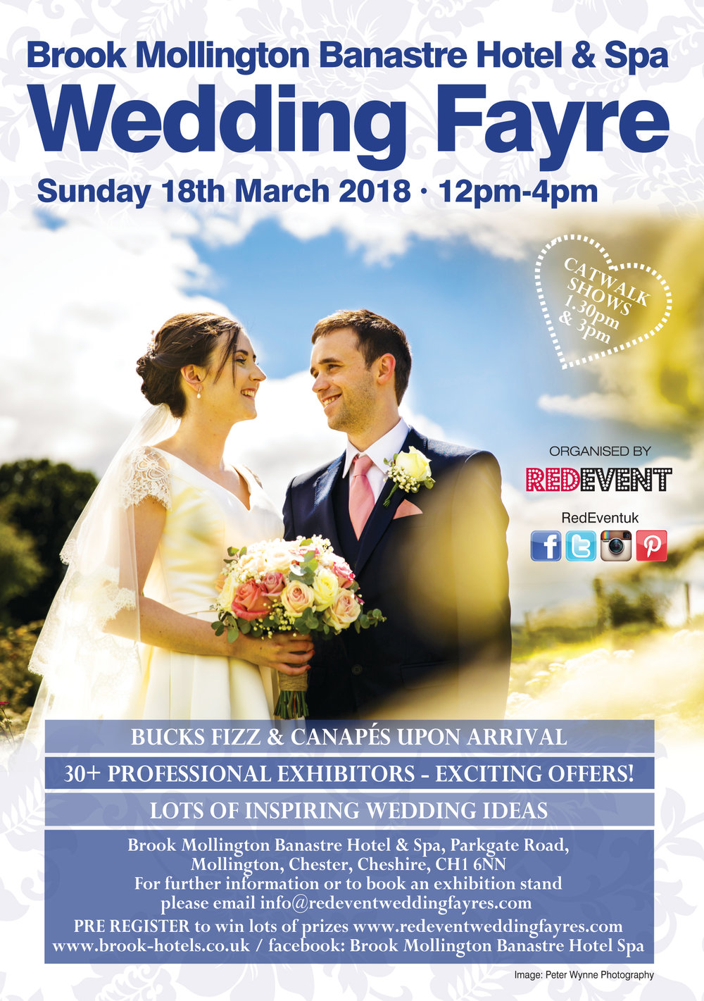 Brook Mollington Banastre Hotel & Spa Wedding Fayre flyer www.redeventweddingfayres.com