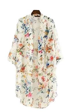 Akery Women's Floral Chiffon Kimono Cardigan