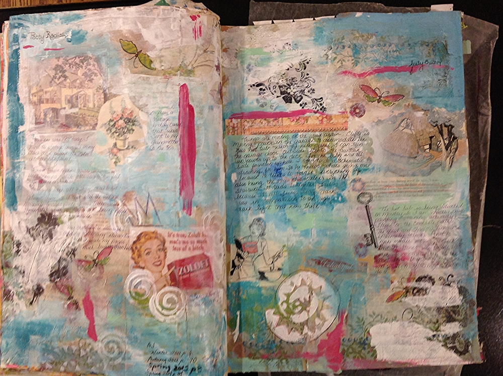 From my Copy the Masters journal  What I learned from studying the work of Patty Radish.  Published in Art Journaling magazine, Spring 2015.