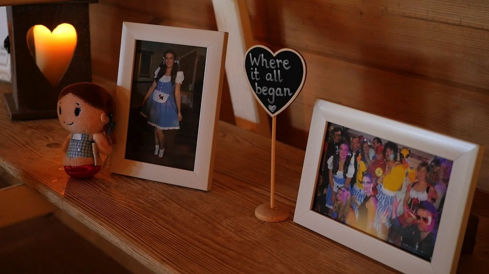 Tom and Laura's Wedding Video showing Dorothy and The Flash in picture frames at North West Wedding Venue, Styal Lodge.