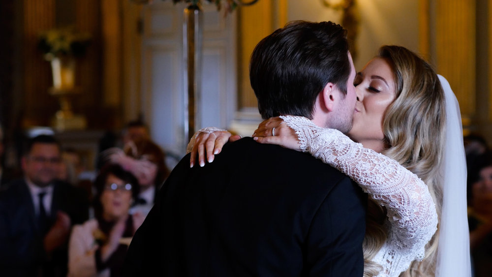 Phil and Emma share their first kiss at Knowsley Hall.