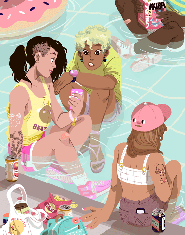 Illustration for Gowanus Print Lab's summer/block party themed show.