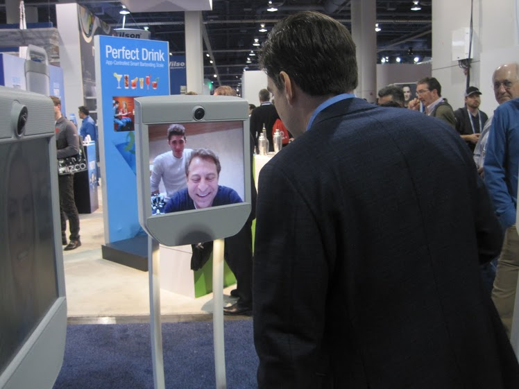 Peter Diamandis beaming into CES on our visitor Beam.