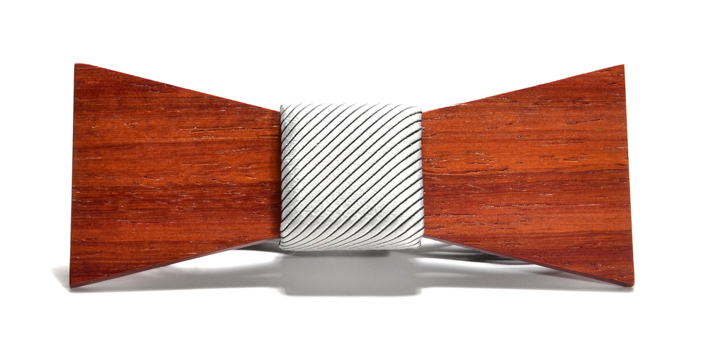 The Apollo Padauk Shorty Silk Wooden Bow Tie