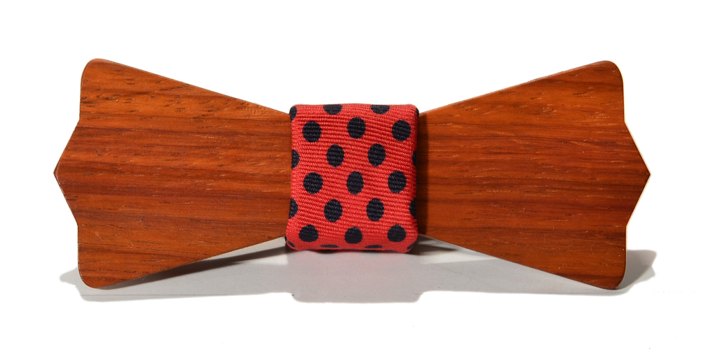 The Monroe Padauk Diamond Point Traditional Silk Wooden Bow Tie