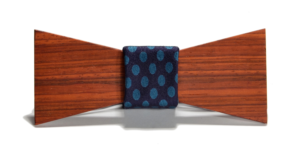 The Cambridge Paduak Shorty Silk Wooden Bow Tie