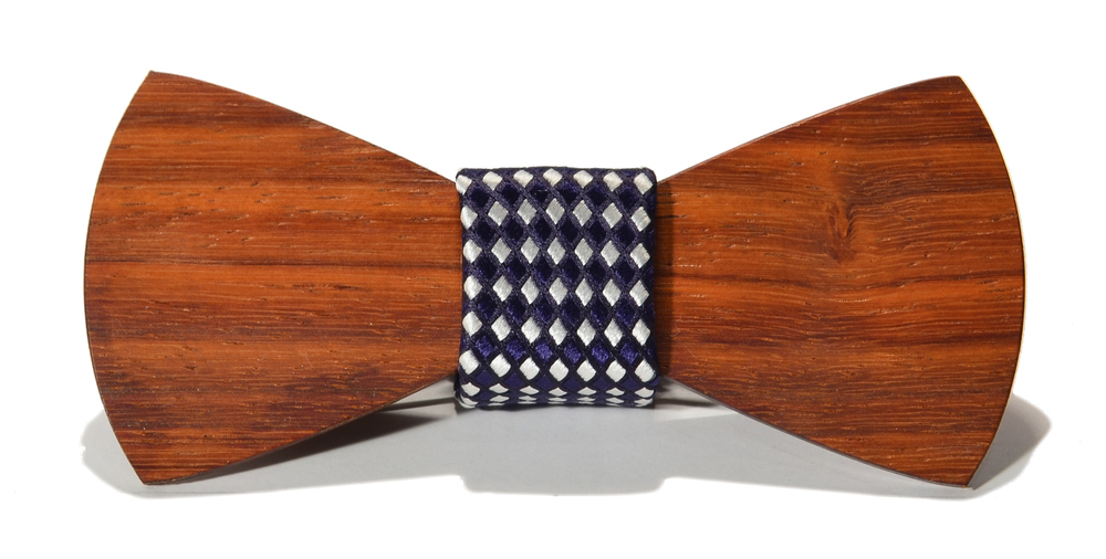 The Rook Padauk Traditional Silk Wooden Bow Tie