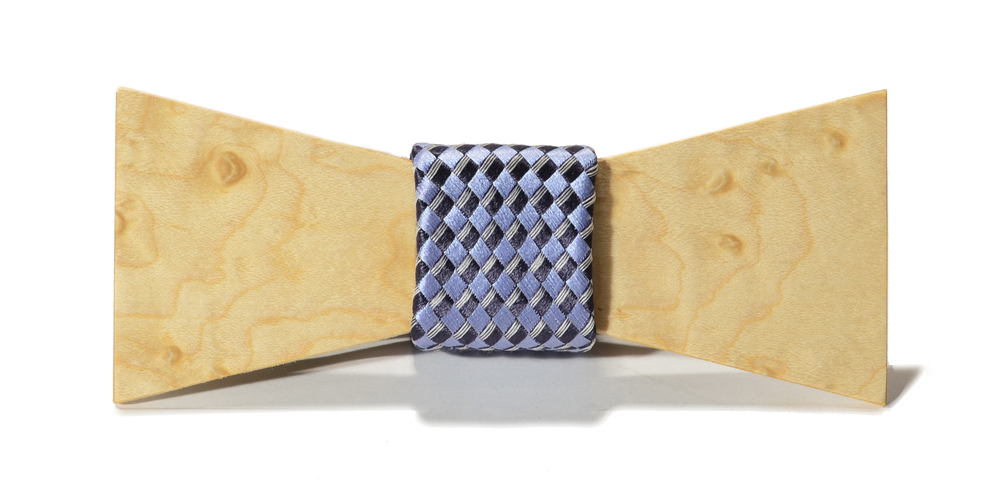 The Phantom Birdseye Maple Shorty Silk Wooden Bow Tie