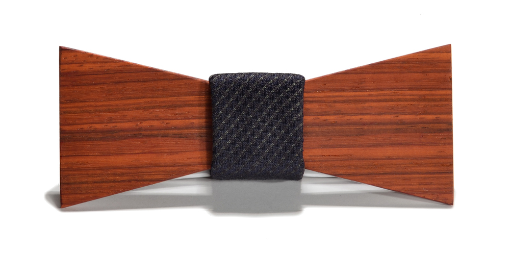 The Sinatra Padauk Shorty Silk Wooden Bow Tie