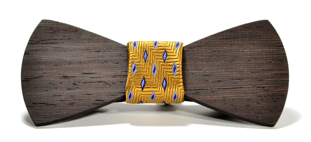 The Wall Street Wenge Traditional Silk Wooden Bow Tie