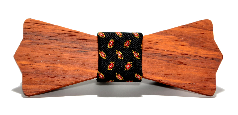 The Baron Padauk Diamond Point Silk Wooden Bow Tie