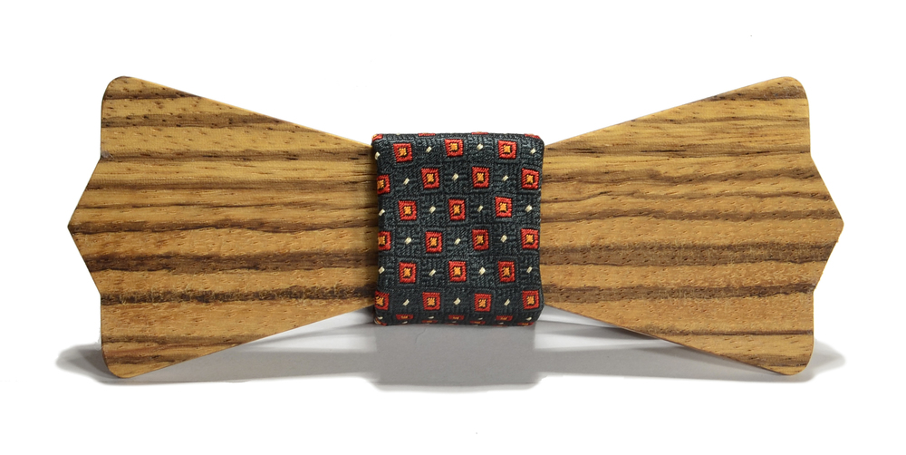 The Henry Zebrawood Diamond Point Silk Wooden Bow Tie