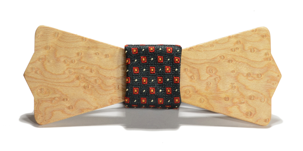 The Henry Birdseye Maple Diamond Point Silk Wooden Bow Tie