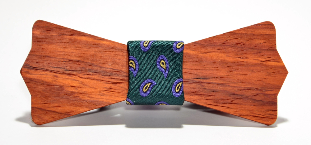 The Murphy Padauk Diamond Point Silk Wooden Bow Tie