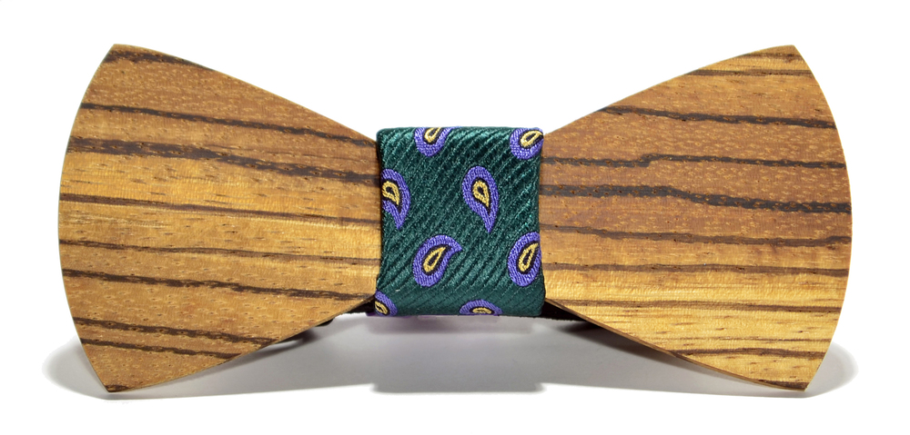 The Murphy Zebrawood Traditonal Silk Wooden Bow Tie