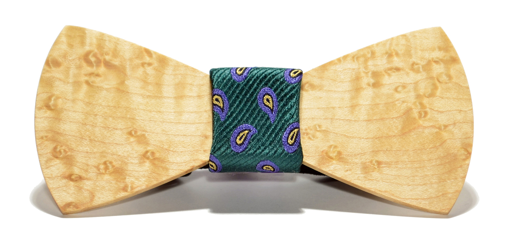 The Murphy Birdseye Maple Traditonal Silk Wooden Bow Tie