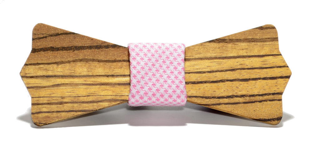 The Belmont Zebrawood Diamond Point Cotton Wooden Bow Tie