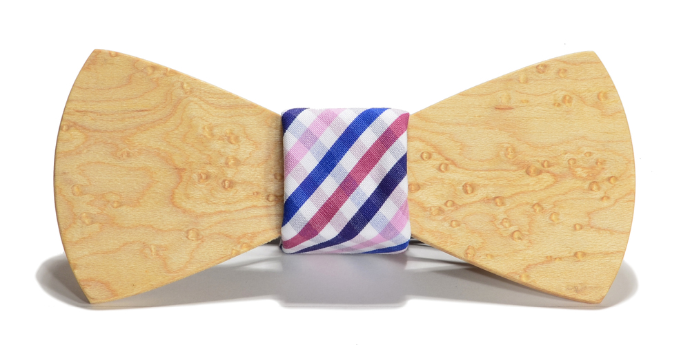 The Bordeaux Birdseye Maple Traditonal Cotton Wooden Bow Tie
