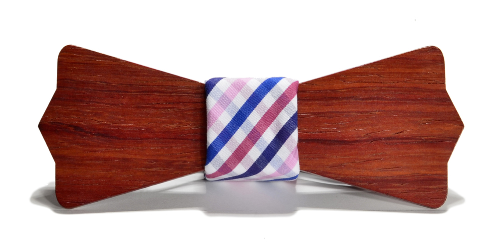 The Bordeaux Padauk Diamond Point Cotton Wooden Bow Tie