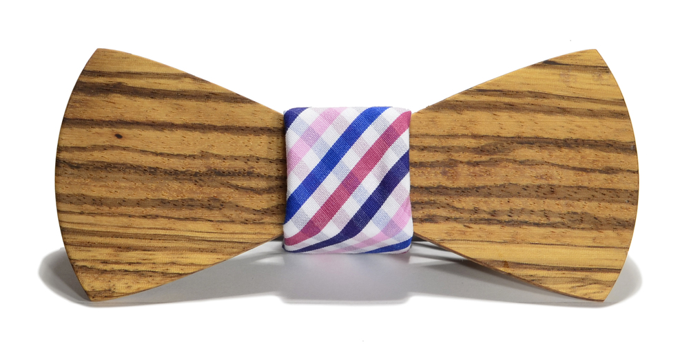 The Bordeaux Zebrawood Traditonal Cotton Wooden Bow Tie