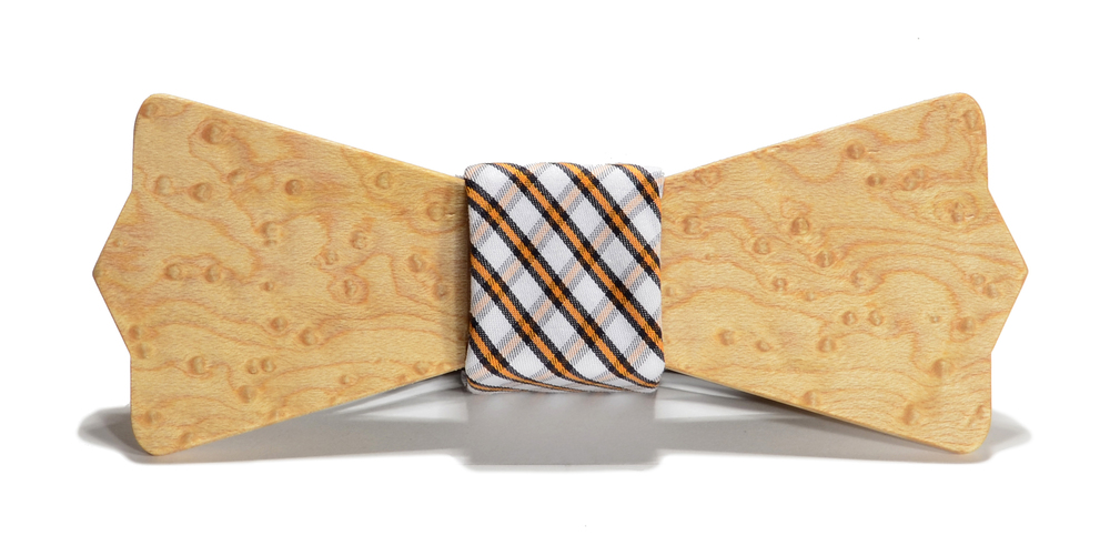 The Huntsman Birdseye Maple Diamond Point Cotton Wooden Bow Tie