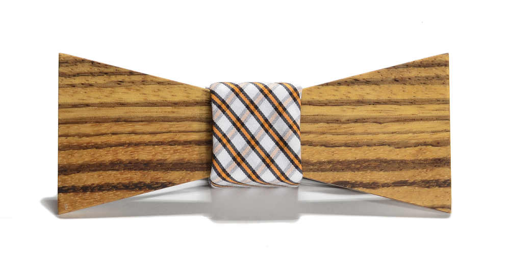The Huntsman Zebrawood Shorty Cotton Wooden Bow Tie