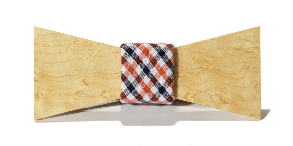 The Clark Birdseye Maple Shorty Cotton Wooden Bow Tie