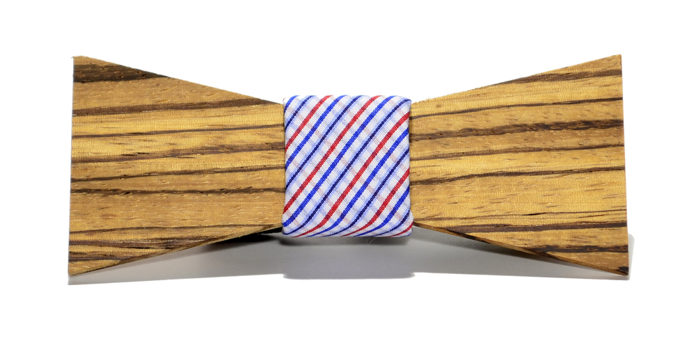 The Captain Zebrawood Shorty Cotton Wooden Bow Tie