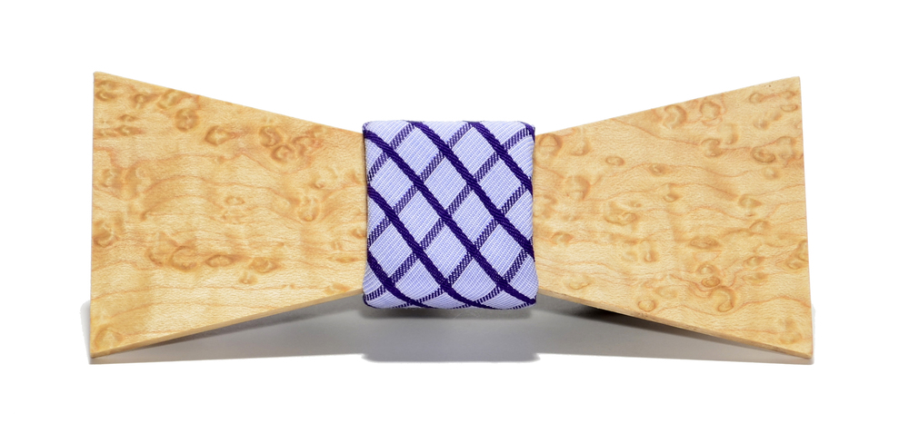 The Manhattan Birdseye Maple Shorty Cotton Wooden Bow Tie