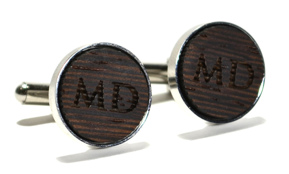 wenge wood monogram stainless steel cufflinks 16mm