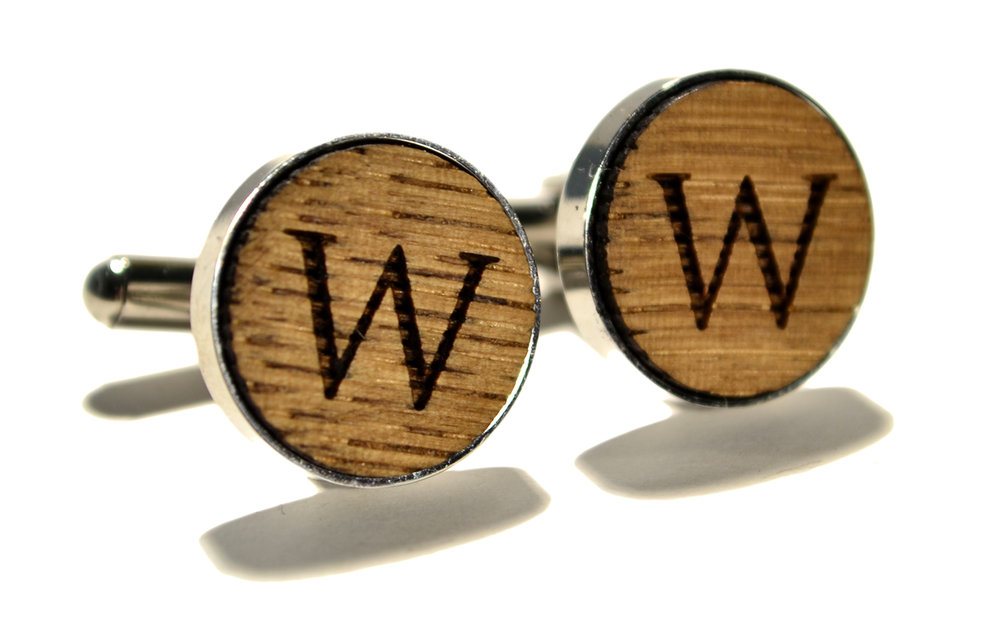 switchwood wine barrel wood monogram stainless steel cufflinks 1