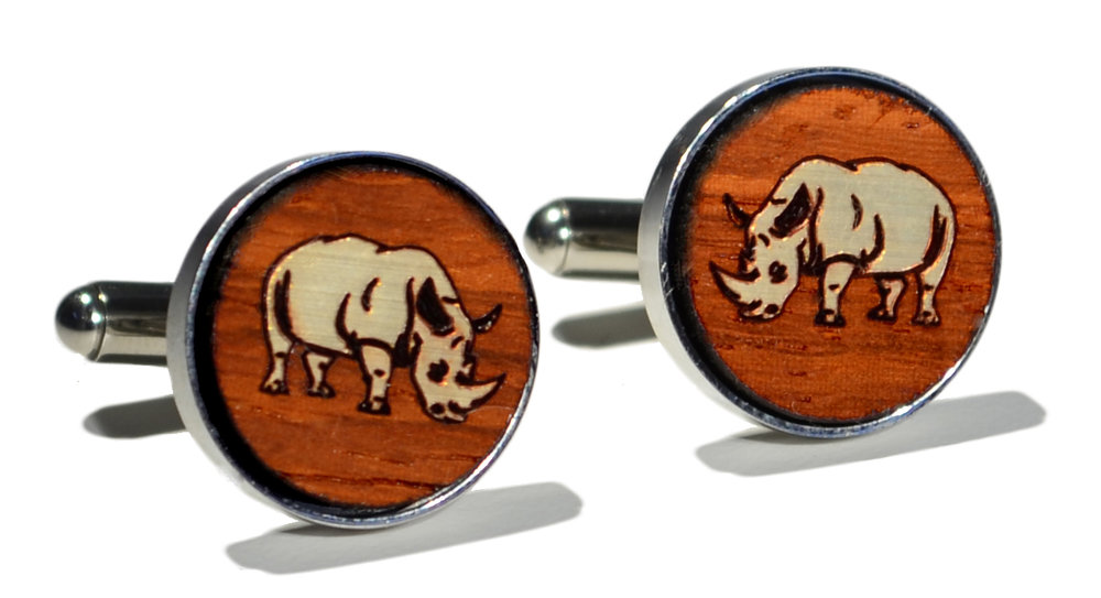 Switchwood padauk wood gold overlay rhino stainless steel cuffli