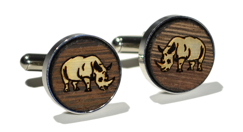 Switchwood wenge wood gold overlay rhino stainless steel cufflin