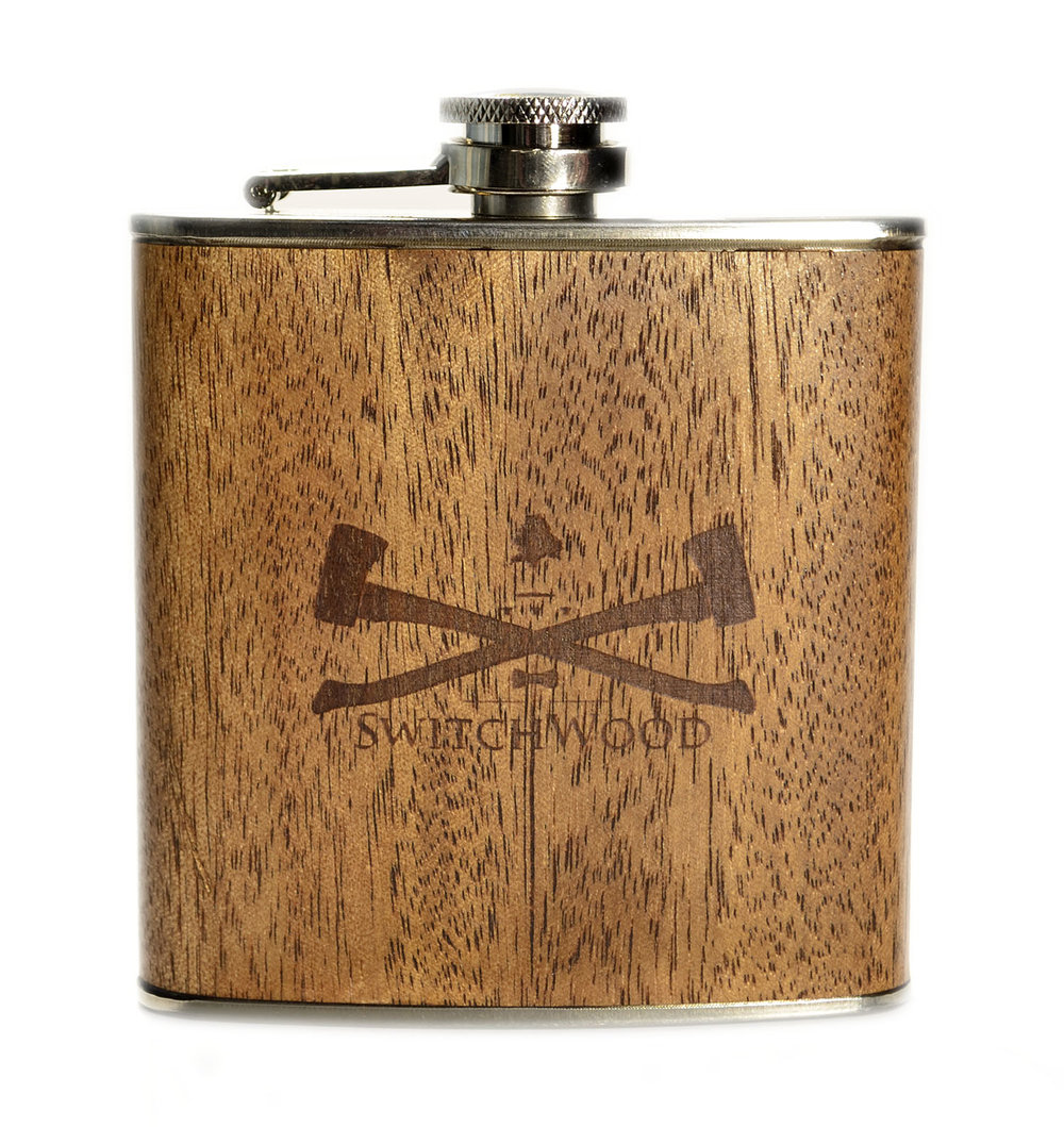 wooden flask white oak switchwood logo brown