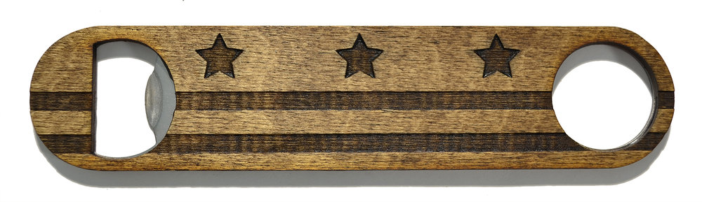wooden bottle opener dc flag